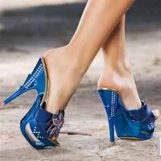 Mules à talons hauts bleu éléctrique femme talons de 14 cm taille 37, en vente sur la boutique en ligne Modatoi. Achetez en ligne des ch