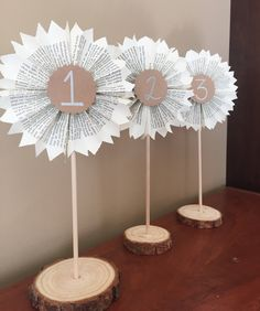 Wedding Table Numbers-Table Signs-Wood Signs-Literary Numbers-Book Themed Wedding-Paper Rosettes-Wedding Decor-Rustic Wedding by RootToVine on Etsy