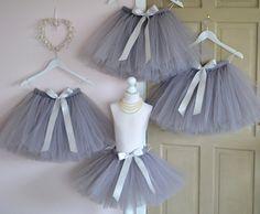 Flower Girl knee length Silver Grey tutu by FlowersAndConfetti