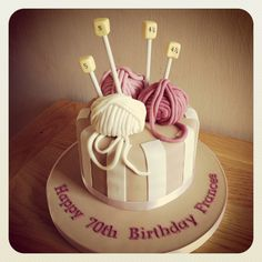 Knitting themed birthday cake (Lemon drizzle filled with layers of lemon curd buttercream, finished with fondant.)