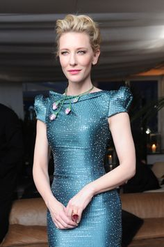 We love the daring and romantic look of Cate Blanchett at the Trophée Chopard Party