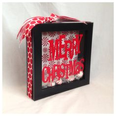 Peppermint Christmas Shadow Box by BlocksPaperPaint on Etsy