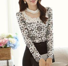 Aliexpress.com: Comprar 2015 primavera nueva moda Crochet blusas de encaje de manga larga blusa de la perla que rebordea Floral Elegante camisas Top blusas de renda de muchachos de la camisa fiable proveedores en Yuan heng trading CO.,LTD
