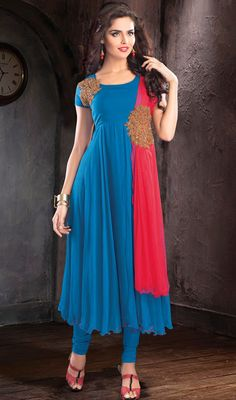 Azure Blue and Red Chiffon Anarkali Suit Price: Usa Dollar $197, British UK Pound £116, Euro145, Canada CA$211 , Indian Rs10638.
