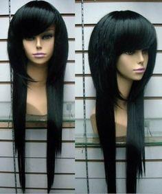 New Long Black Fashion Straight wigs Cosplay wig +cap