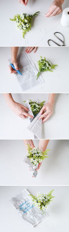 Lovely little flower idea with a message in the paper