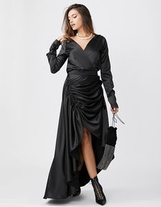 Rochie lunga neagra SIENNA Wrap Dress, Party Dress, Dresses, Fashion, Prom Dress Couture, Gowns, Moda, La Mode, Wrap Dresses