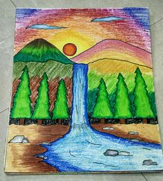 A sceney by oil pastels❤ Drawing Classes For Kids, Scenery Drawing For Kids, Drawing Tutorials For Kids, Easy Drawings For Kids, Oil Pastel Drawings Easy, Oil Pastel Paintings, Indian Art Paintings, Oil Pastels, Elementary Drawing