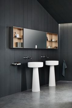 Agape, 027 Mirror units #agapedesign - Wall mounted mirror cabinet in birch plywood with finish in natural, brown or dark oak or teak wood. Learn more on agapedesign.it