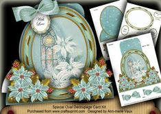 This kit makes one of the most effective cards and you will not believe how easy it is and how quick and how impressive it is! A large shaped card complete with decoupage and extra labels. The kit has full written instructions to make this beauty, there is no photo step by step in this kit, but you won't need it, as it is so easy. I have made matching envelopes for this kit to give your cards the finished look.
