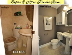 "Paint color  Benjamin Moore ""Metropolis""  Great updated powder room."