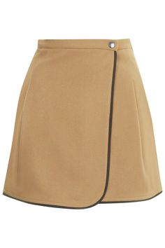 Melton Wool Wrap Mini Skirt by Boutique