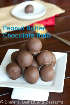 Peanut Butter Chocolate Balls from @Dinnersdishesdessert