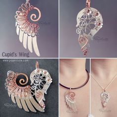 """Cupid's Wing by *kry1 on deviantART  These would make for some sweet, grown up """"best friends"""" necklaces. :)"""