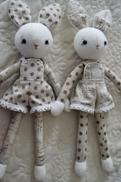 Gee's Projects: Linen Rabbit softies. Just having fun in the sewing room.