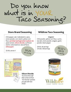 What's in your Taco Seasoning? Check out Wildtree's Taco Seasoning (#10575/#10474) - www.mywildtree.com/greglynnhoelzer
