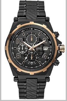 Men's Black Guess Chronograph Watch U0243G2