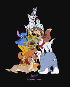 Disney Dogs by on DeviantArt Disney Artwork, Disney Fan Art, Disney Love, Arte Disney, Disney Magic, Fantasia Disney, Pixar, Disney Sidekicks, Cute Disney Drawings