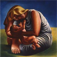 Maternity - Jose de Almada-Negreiros  1935, ArtDeco http://www.wikipaintings.org/en/jose-de-almada-negreiros/maternity-1935