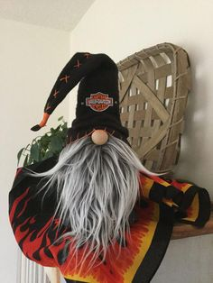 Nordic gnome, Biker Gnome, Tomte, Nisse by GnomebodiesBusiness on Etsy Harley Davidson Bike Images, Harley Davidson Street Glide, Biker Gnomes, Yarn Animals, Black Leather Vest, Snowman Hat, Christmas Gnome, Christmas Jam, Motorcycles