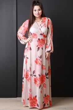 Semi-Sheer Floral Wrap Maxi Dress