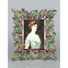 "JAY STRONGWATER  |  Ferdinand Peacock Feather 5"" x 7"" Frame - Peacock  