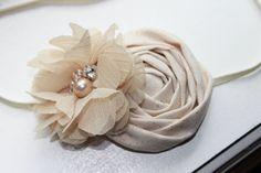 Gold and Cream Christmas Baby Flower Headband, Newborn Headband, Baby Girl Flower Headband, Photography Prop