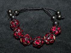 jewelry, bracelet, adjustable, pink, onyx, black, beads, thread, leather Visit: www.gladisparkle.com