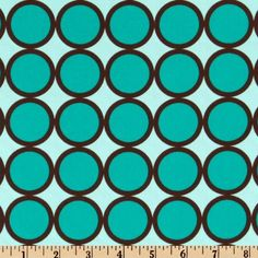 Michael Miller Lagoon Ring Dot Turquoise from @fabricdotcom  Designed for Michael Miller Fabrics, this fabric features large dots in colors of turquoise and brown on a light blue background. The dot measures 1.25''.  Use for quilting and craft projects as well as apparel and home décor accents.