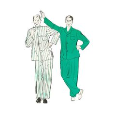 UNCUT 1940s Mens Pajamas Chest 34-36 New York Pattern by Redcurlzs