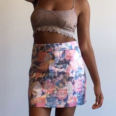 ⚜ NASTY GAL Flower Shimmer Skirt Shimmer floral print skirt with size zipper and pastel colors! 💋 Happy Poshing! (x trade) @pipershew Nasty Gal Skirts Mini