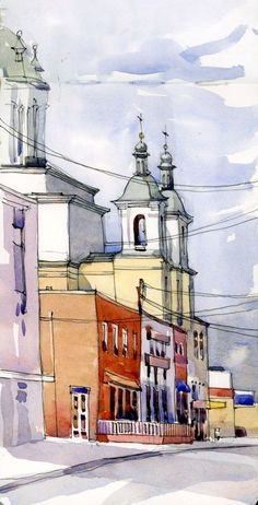 I love painting street scenes, especially when there is a contrast of architectural styles or colours, or some good side light. Saint Basil the Great Ukrainian Church in Lachine towers over the sto… Pen And Watercolor, Watercolor Landscape, Watercolor Illustration, Watercolor Paintings, Landscape Drawings, Watercolours, City Sketch, Watercolor Architecture, Urban Sketchers