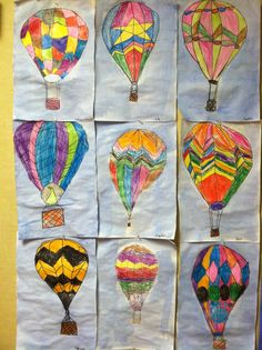 Hot air balloon art project. Second grade art class