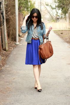 Monochromatic Jean jacket, float cobalt skirt