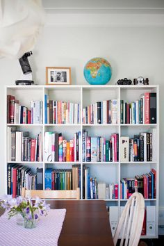 one more pic from the home of sverrir & berglind mari: a bookshelf in the dining room. how warm and inviting! I love it.