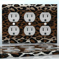 DIY Do It Yourself Home Decor - Easy to apply wall plate wraps | Night Leopard  Beautiful dark animal skin print  wallplate skin sticker for 3 Gang Wall Socket Duplex Receptacle | On SALE now only $5.95