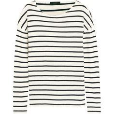 J.Crew Striped cotton-jersey top ($67) ❤ liked on Polyvore featuring tops, shirts, sweaters, long sleeves, blue, blue shirt, blue top, white striped shirt, white top and long sleeve shirts
