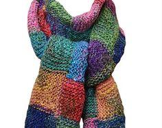 Рука вязать шарф - Дыхание весны Лоскутное желтый зеленый голубой пурпурный из шелка, мохера и шерсти