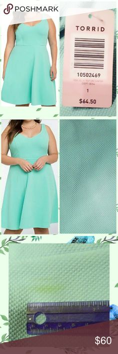 """Torrid Mint Green Texture Skater Dress Sz 1 BRAND NEW W/TAGS Torrid brand Pool/Mint Blue Textured Skater Knit Dress size 1.  *SRP:$64.90USD at Torrid stores *All over solid mint green color *All over textured look *Sleeveless *Lightweight *All over stretch *Very soft knit material *SELF Made of 96% Polyester/4% Spandex *LINING Made of 91% Polyester/9 Spandex  MEASUREMENTS: Pit to Pit: 21.5""""+ Waist: 17""""+ Total Length: 39.5"""" PLEASE CHECK THE MEASUREMENTS before buying this item. Torrid Dresses…"""