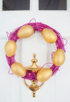 Love this Easter egg wreath as a spring door decor idea.