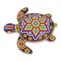 Authentic Huichol Beaded Turtle Sculpture from Mexico - Star Turtle Angel Sea Turtle Art, Turtle Love, Peyote Patterns, Beading Patterns, Turtle Painted Rocks, Beadwork Designs, Turtle Painting, Mexican Folk Art, Bead Art