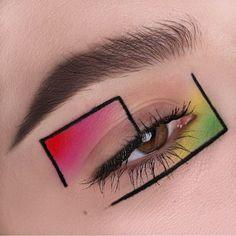 Screen creative Eye Makeup Concepts Augen Make-up> Gesicht Kunst> Farbe Formen Edgy Makeup, Makeup Eye Looks, Eye Makeup Art, Crazy Makeup, Cute Makeup, 1990s Makeup, Makeup 2018, Runway Makeup, Gothic Makeup