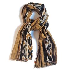 PATCH NYC - SCARVES - CURRY WITH BLACK/MUSTARD IKAT CLASSIC {F911}