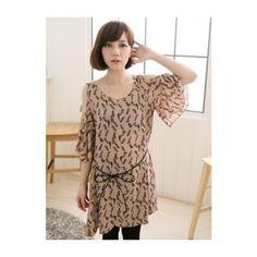 Khaki Ladies Casual Feather Printing Round Neck Chiffon Dresses One... ($12) via Polyvore