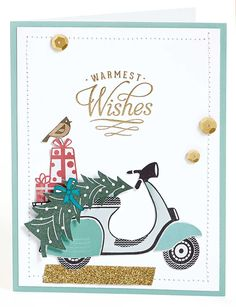 Warmest wishes to you and yours this holiday season. Get this adorable scooter stamp set for only $10 this month through the Deal of the Decade!