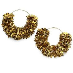 "Oversized Hoop Earrings ; 3.5"" Diameter; Gold Tone Metal; 1.75"" Leopard Print Fabric Flowers; Eileen's Collection. $24.99. Save 50% Off!"