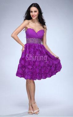 Fuchsia A-line Knee-length Sweetheart Dress