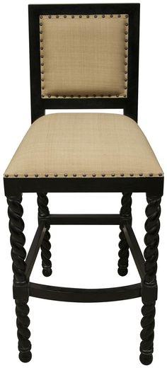 "Upstairs Downstairs Furniture - Twist Leg Bar Stool; * Choose a Size: Bar - 18.5"" x 22.5"" x 45.5""h ; Counter - 18.5"" x 22.5"" x 39.5""h"