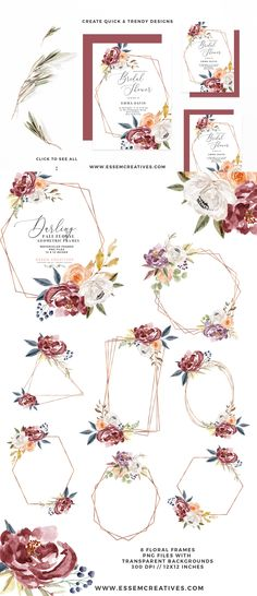 c1730551eb45 Burgundy Watercolor Floral Clipart for Wedding Invitations