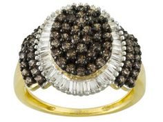 Bella Luce (R) 2.81ctw Mocha And White Diamond Simulant Round And Baguette Yg Eterno (Tm) Ring